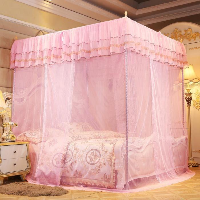 Qiilu rideau de lit Luxe princesse trois ouvertures latérales post lit rideau à baldaquin filet moustiquaire literie (S)