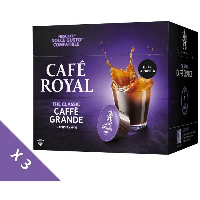 [Lot de 3] CAFE ROYAL Café Compatible Dolce Gusto Caffe Grande x16