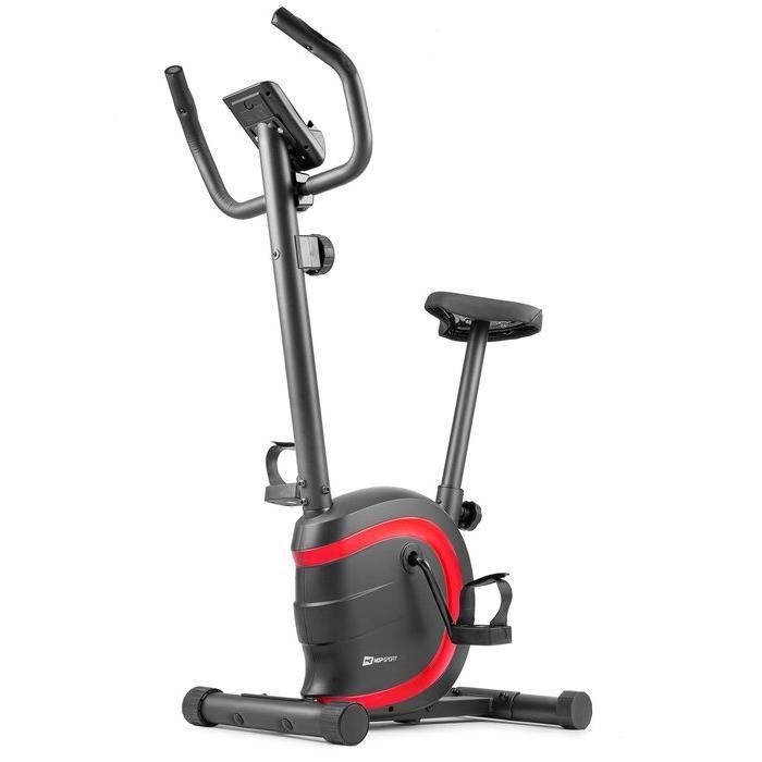 HOP-SPORT Vélo d'appartement HS-015H Vox – Roue d'inertie de 5 kg - Max 120 KG – vélo d'appartement en acier (Rouge)