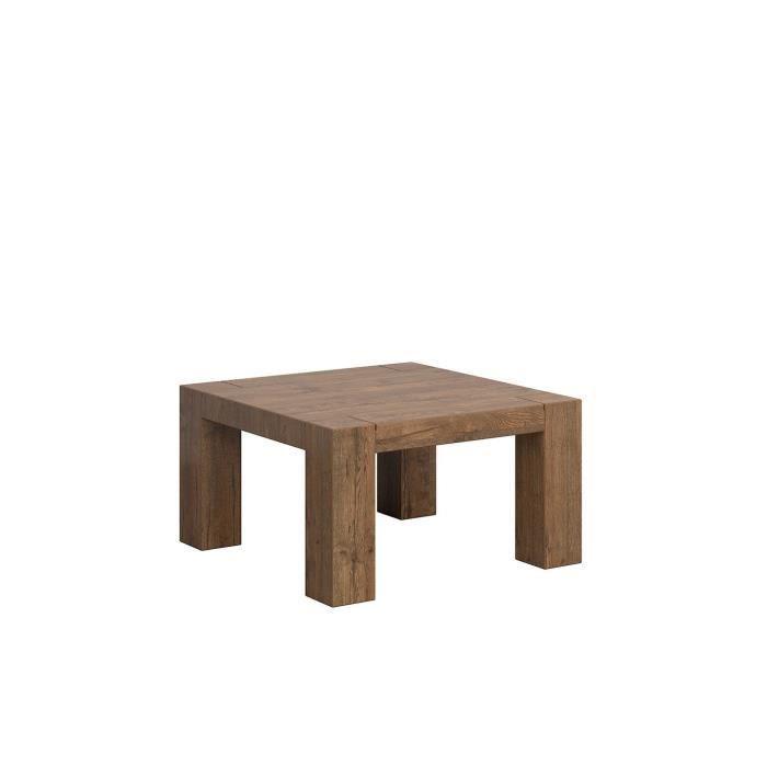 ANTAREL - Table basse carré salon séjour -Style scandinave - Dimensions: 87x87x48.5 cm - Format compact - Chêne