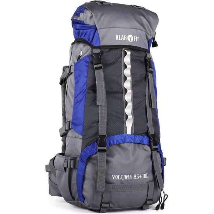 Klarfit Heyerdahl - Sac à dos trekking/randonnée/camping avec housse imperméable incluse (70L, design Cool Air, support baton)
