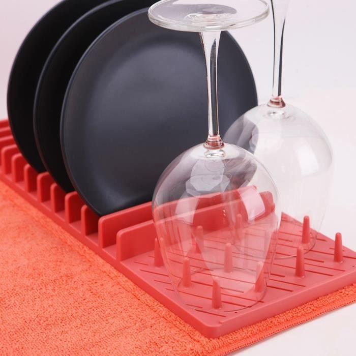 Égouttoir à vaisselle et son tapis de séchage pliable Corail - Rouge
