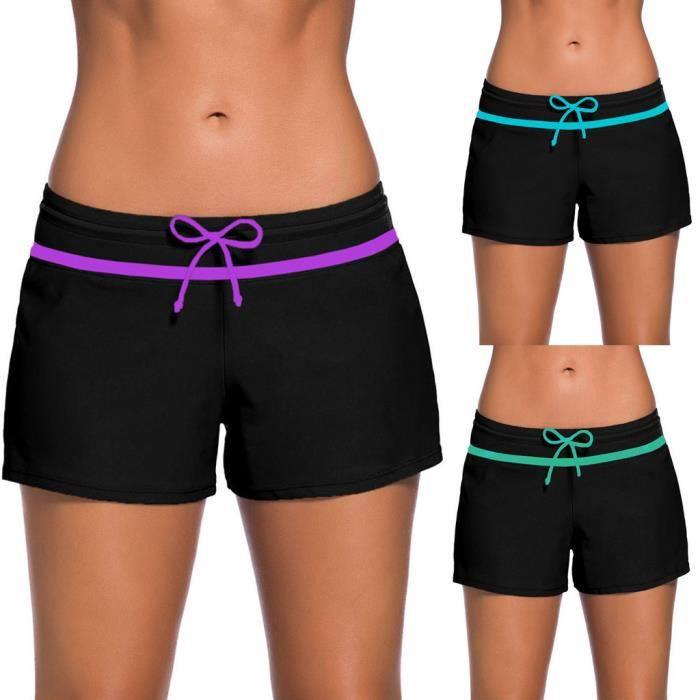 Femmes Maillot De Bain Shorts Tankini Maillots De Bain Plus La Taille Bas Boardshort Short De Bain