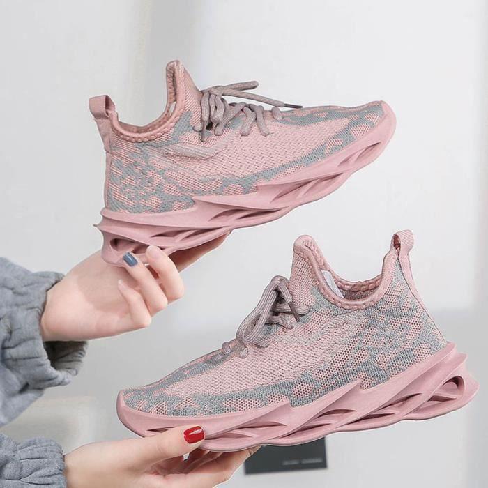 Femmes Blade Running Sneakers Nouvelles chaussures tissées volantes en maille sauvage légère Rose