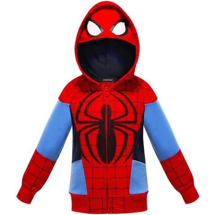 cosplay garçon Veste zippee Encapuchonné sweatshirt Chandail Spiderman rouge
