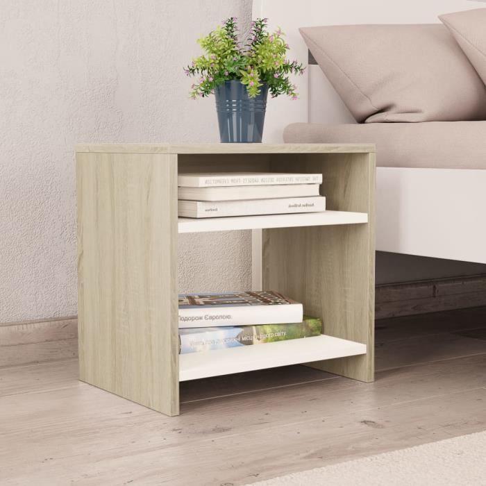 Table de Chevet Contemporain Scandinave Table de nuit Blanc et chêne sonoma 40 x 30 x 40 cm Aggloméré