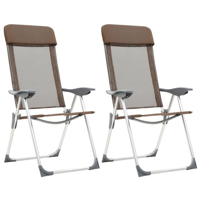 Chaises de camping pliables 2 pcs Marron Aluminium FAUTEUIL DE CAMPING