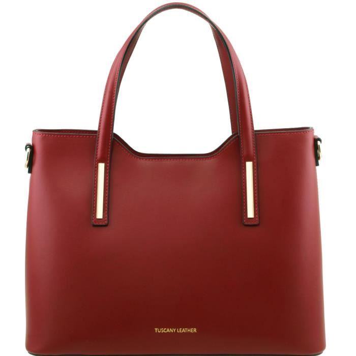 Tuscany Leather - Olimpia - Sac cabas en cuir Ruga - Rouge