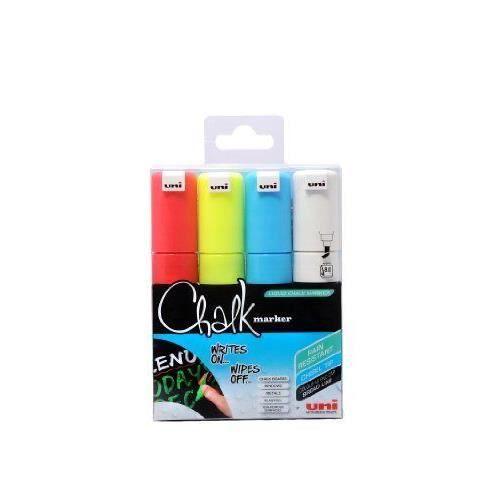 Uni-Ball - PWE8K - Lot de 4 Marqueur craie - Pointe large - Assortiment de couleurs (Import Royaume Uni)