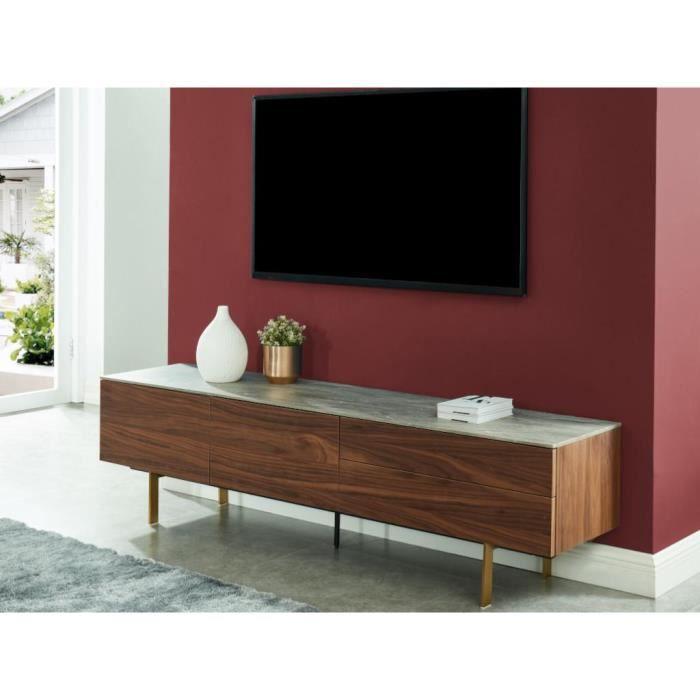 Meuble TV ALIZE - 2 portes & 2 tiroirs - MDF - Noyer avec plateau effet céramique grise