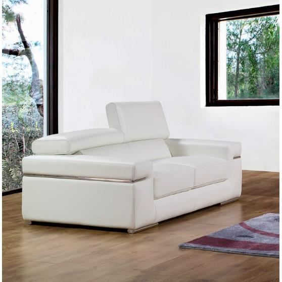 canap 2 places en cuir blanc design achat vente canap sofa divan cdiscount. Black Bedroom Furniture Sets. Home Design Ideas