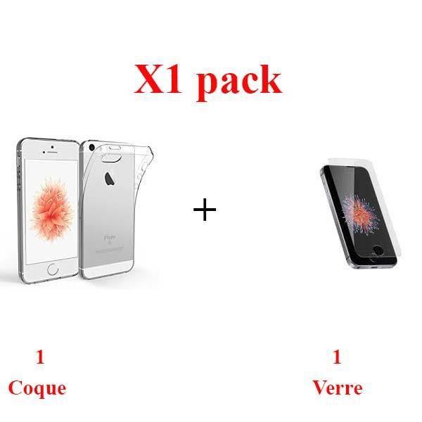 X1 Lot, Lot verre coque Iphone 5S Protection integ