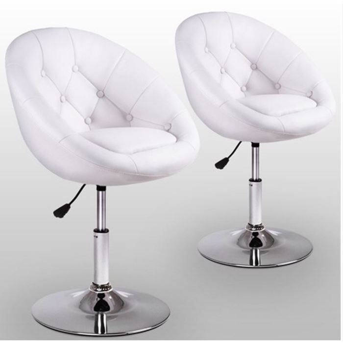 2 fauteuils chesterfield tabouret blanc achat vente chaise cdiscount. Black Bedroom Furniture Sets. Home Design Ideas
