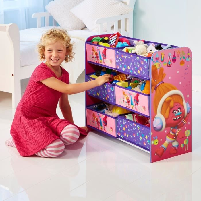trolls meuble de rangement jouets enfant 6 bacs achat. Black Bedroom Furniture Sets. Home Design Ideas