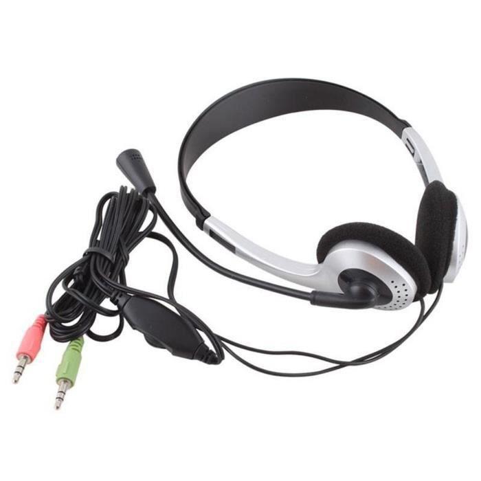 Black HUET Casque USB avec Microphone antibruit Casque Professionnel Filaire pour Skype Webinar