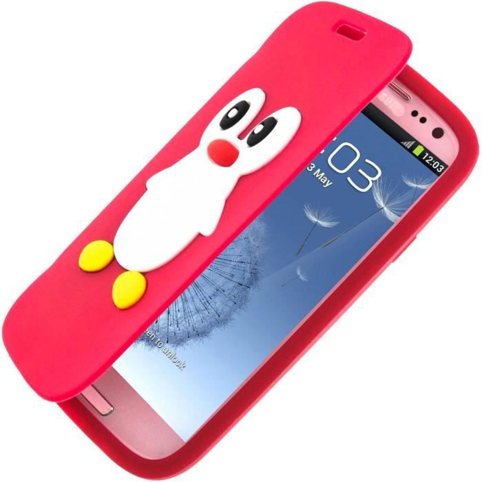 coque bumper coque clapet pingouin samsung galaxy s3 rouge. Black Bedroom Furniture Sets. Home Design Ideas