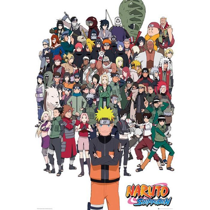 Poster naruto shippuden tous les personnages kakashi for Decoration murale naruto