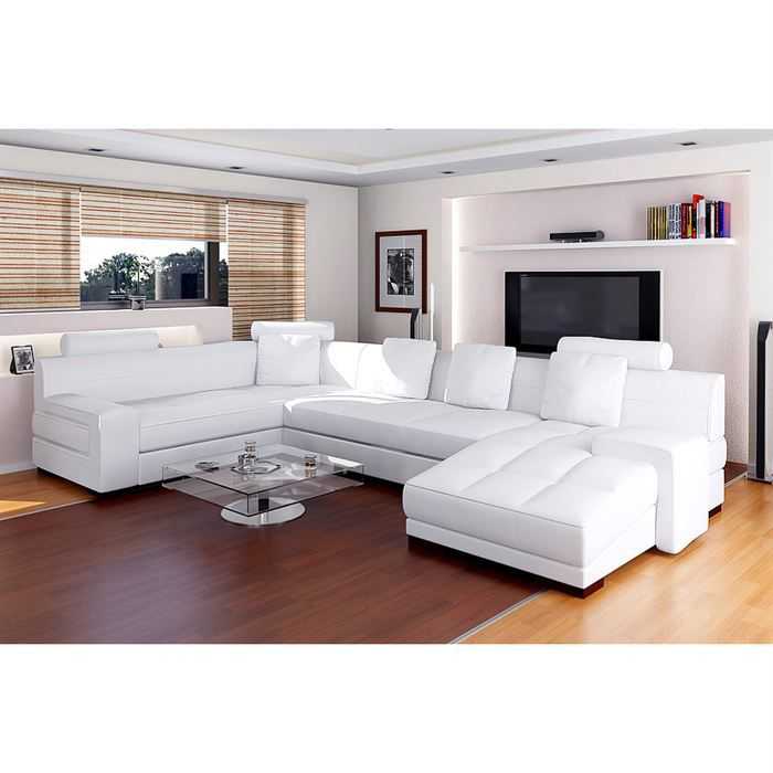 canap cuir de vachette blanc ff8568 achat vente canap sofa divan cuir cdiscount. Black Bedroom Furniture Sets. Home Design Ideas