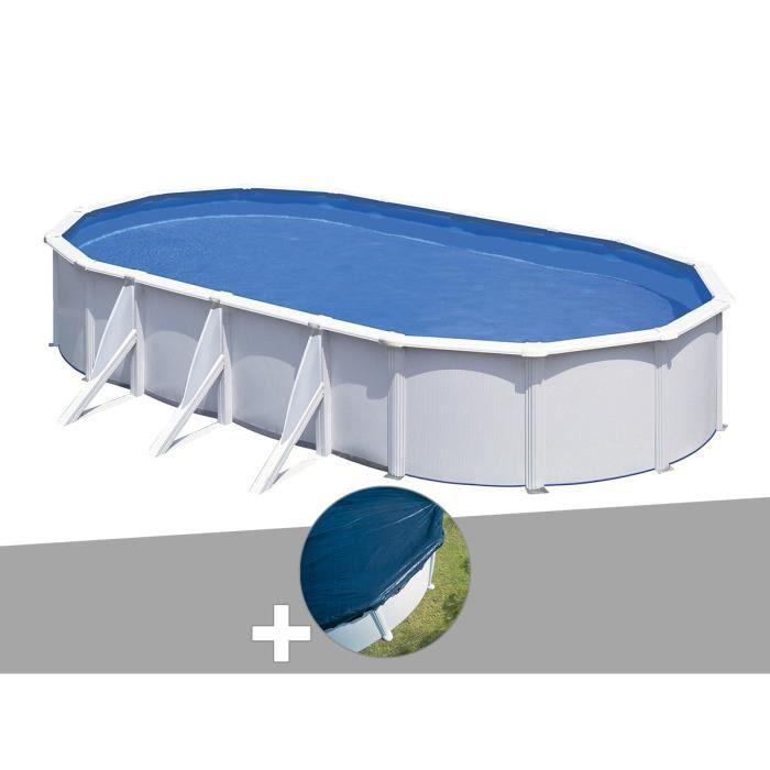 PISCINE Kit piscine acier blanc Gré Fidji ovale 6,34 x 3,9
