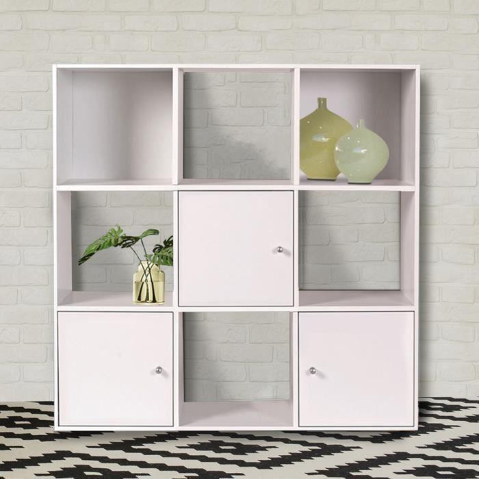 Meuble De Rangement Cube 9 Cases Bois Blanc Avec 3 Portes Achat Vente Meuble A Casier Meuble De Rangement Cube 9 Cdiscount