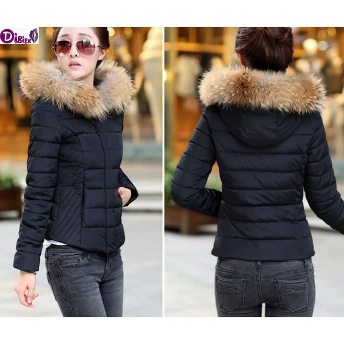 2016 manteau d 39 hiver pour femmes en coton matelass veste courte slim big fur collar pais. Black Bedroom Furniture Sets. Home Design Ideas