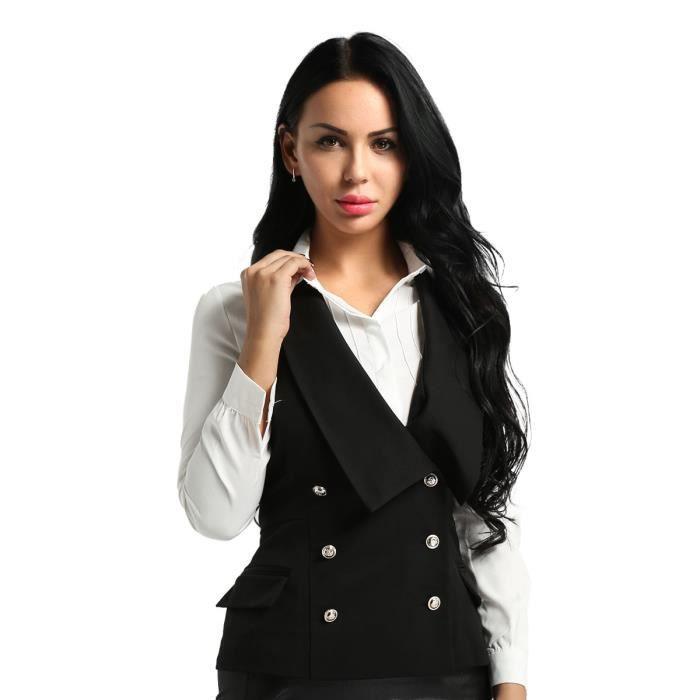 Débardeur femme 6 boutons froncé manche smart slim bureau à col blazer jacket