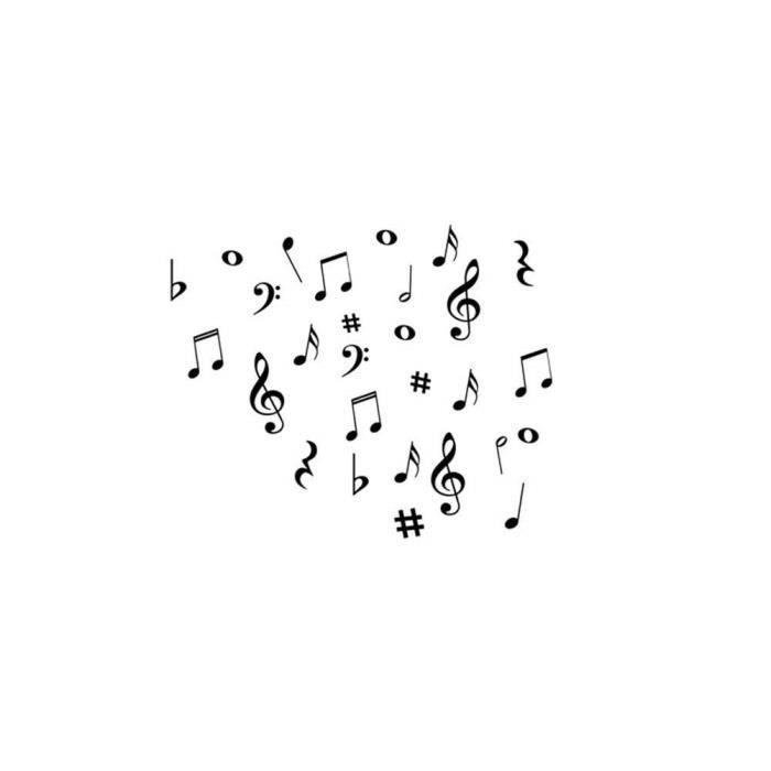 suppemie notes de musique noir et blanc autocolla