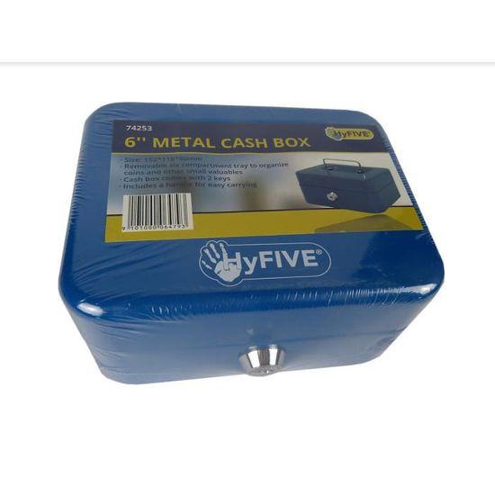 Hyfive 6 Acier Bleu Petite Caisse Argent Coffre Fort Porte Cles Avec Bac