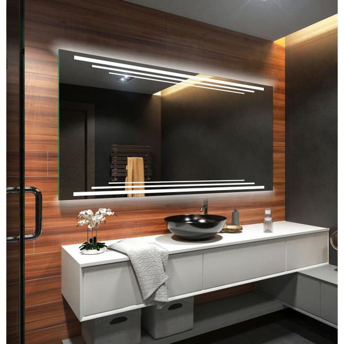 Miroir Salle De Bain 120 Cm artforma l75 120x60cm illumination led miroir sur mesure