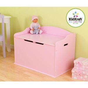 COFFRE À JOUETS Coffre à jouet banc en bois rose princesse pour ch