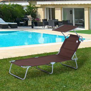 CHAISE LONGUE Transat bain de soleil pliable grand confort dossi
