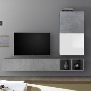 MEUBLE TV Meuble TV suspendu blanc laqué et gris béton SOLET