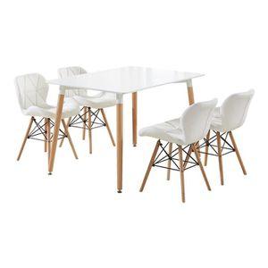 TABLE À MANGER COMPLÈTE Ensemble Table à Manger Blanche Design Scandinave