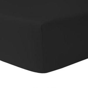 DRAP HOUSSE Drap Housse 160 x 200 - NOIR 100% coton 57 fils /