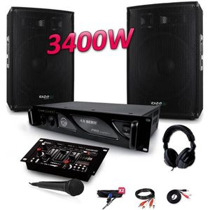 PACK SONO PACK SONO 3400W DJ PA Set BAR CLUB DISCO15B + Ampl