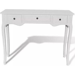 CONSOLE Table de console et coiffeuse avec 3 tiroirs Blanc