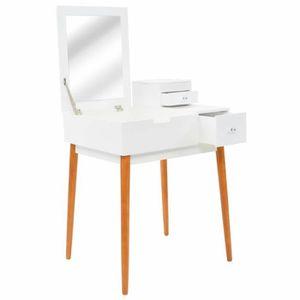 COIFFEUSE Coiffeuse avec miroir MDF 60 x 50 x 86 cm | Blanc