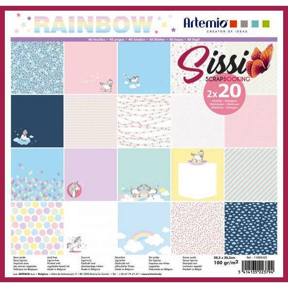 Maxi bloc 40 page enfant bébé naissance Papier Scrapbooking Artemio licorne 30cm