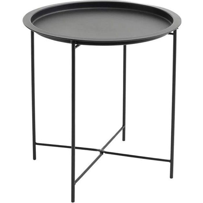 YIS Table d'appoint en Métal, Pliante Table basse Moderne, Table de salon Ronde, Plateau amovible - pour Intérieur/Extérieur - Noir