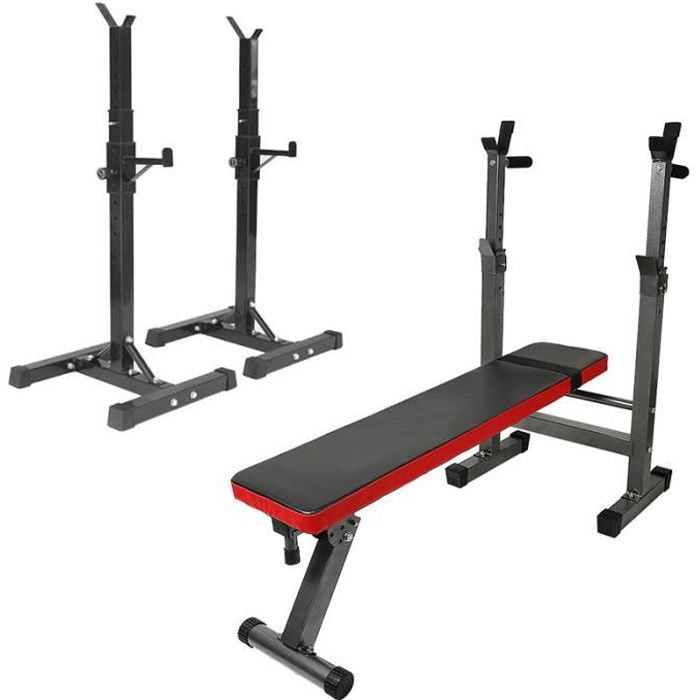 Viyiduo Repose Barre Musculation Support De Haltère Rack à Squat Réglable En Hauteur 105-160 cm - Noir