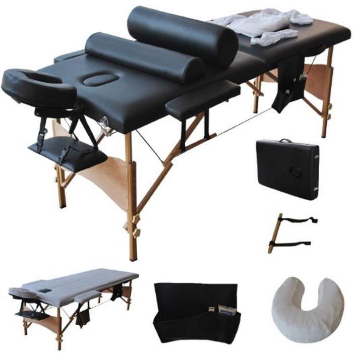 Table de Massage Lit Pliante 2 Zones Professionnel avec pieds en bois 212 x 70 x 85cm Noir