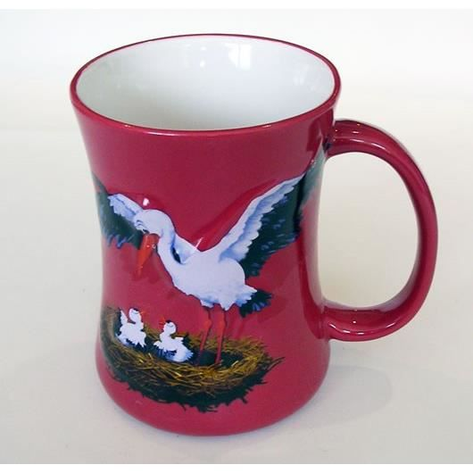 Mug en céramique -Cigogne- rouge