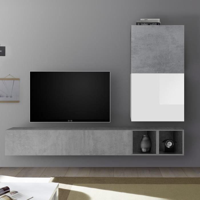 Meuble TV suspendu blanc laqué et gris béton SOLETO Gris L 190 x P 30 x H 170