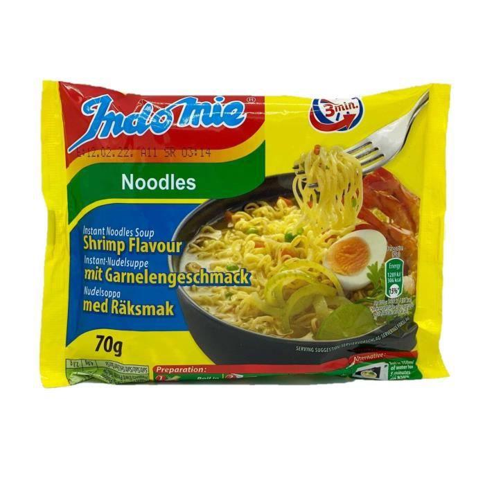 Lot 3x Nouilles/noodles instantanées saveur crevette - carton 40 sachets 70g
