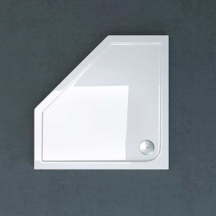 Receveur de douche 100x100 pentagonale bac à douche Sogood Faro5 acrylique plat blanc 100x100x4cm avec bonde AL01