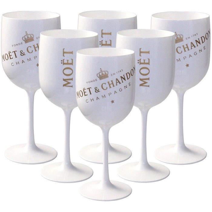 Verre de champagne Moët & Chandon Lot de 6 grands verres blancs en acrylique Ice Impérial Édition pour Champagne A115
