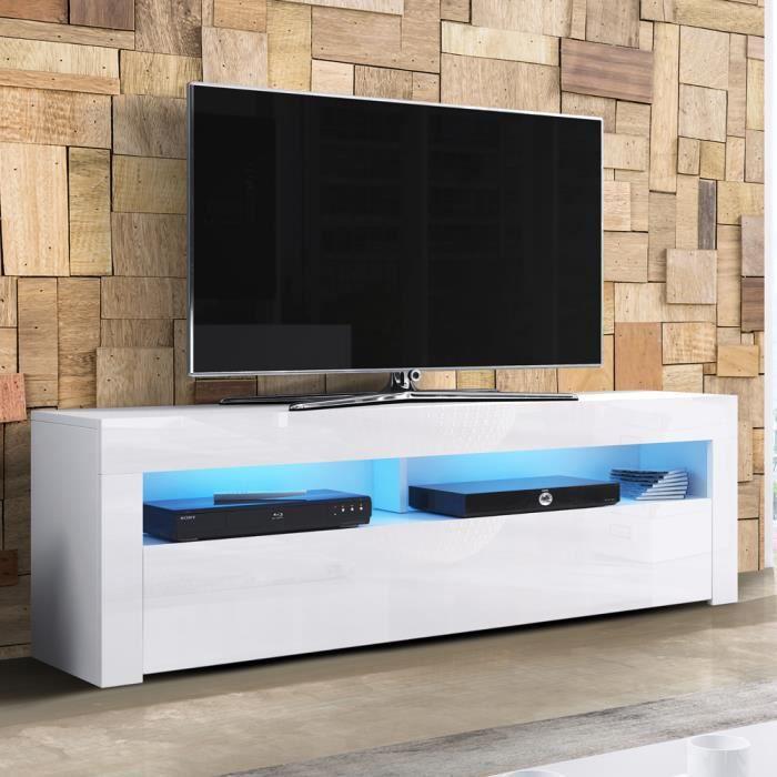 Meuble TV / Meuble de salon - ALAN - 160 cm - blanc mat / blanc brillant - avec LED - style moderne