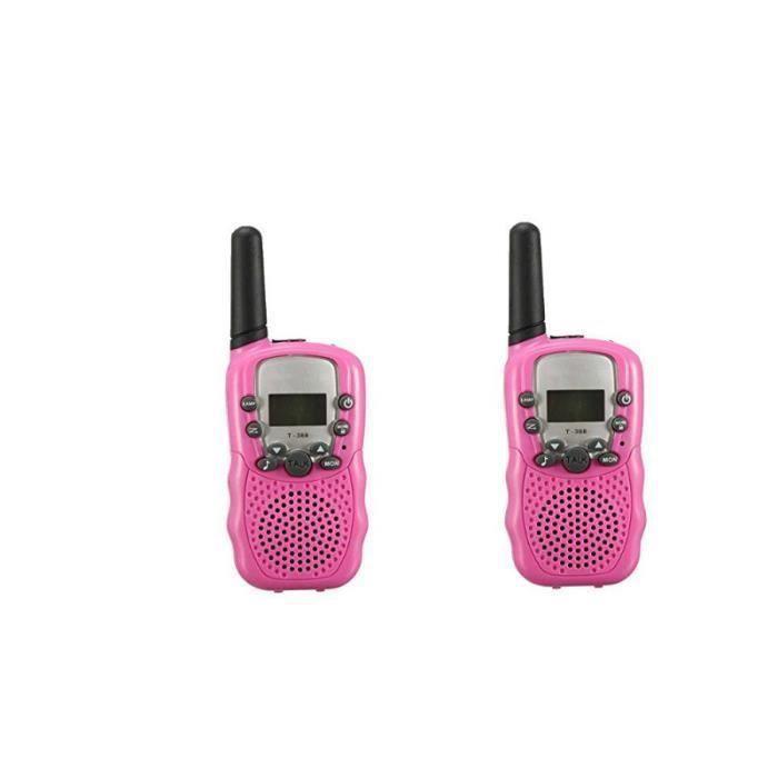Deux Talkie-Walkies Enfant 8 Canaux PMR Système Walkie-talkie Gamme 3 km avec LED Lampe Rose pour Petites Filles