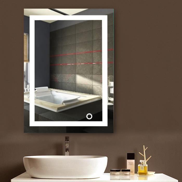 KEKE-NOUVEAU Design Miroir mural Beau Miroir Salle De Bain Lumineux LED 50*70cm