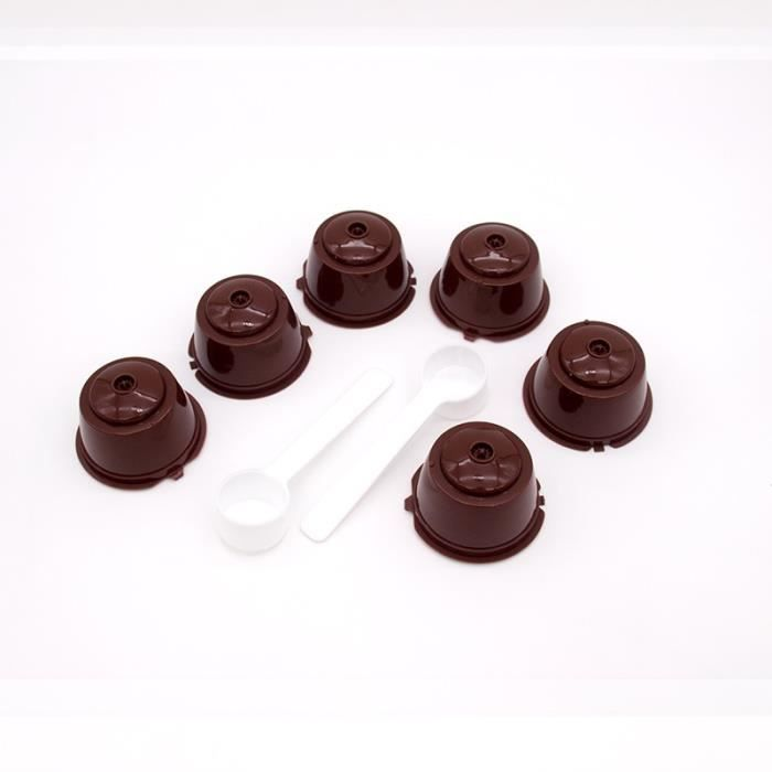Petit déjeuner - Café,Tasse de filtre de Capsule de café réutilisable de 3 pièces pour Nescafe Dolce Gusto - Type 6pcs brown #A